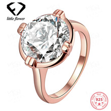 Pure Not Fake Diamond 14K Rose Gold Ring Womens Jewelry Fine Anillos De Rings Bague Bizuterias Gemstone for Females