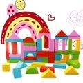 50 PCS crianças da cidade de cor blocos de educação préescolar primeiras lições de inteligência de madeira blocos de construção de brinquedos/presente