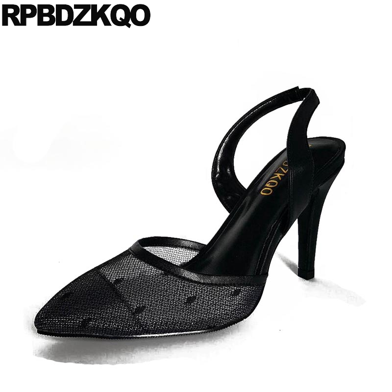 High Heels 12 44 3 Inch Big Size Pumps Mesh Us 13 Ladies Shoes 45 Sandals Black Runway Pointed Toe Slingback 33 Stiletto Strap suru women wedges sandals ladies heels summer shoes big us large size 8 5 9 5 10 5 11 12 13 14 europe 40 41 42 43 44 45 a38