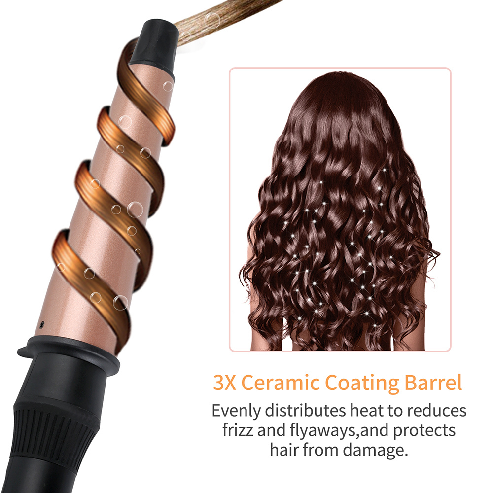 1-1.5 Inch Professional Curling Iron Hair Curling Wand Tourmaline ceramic Electric Hair Curler Roller Cone Conical Curling Wand цена
