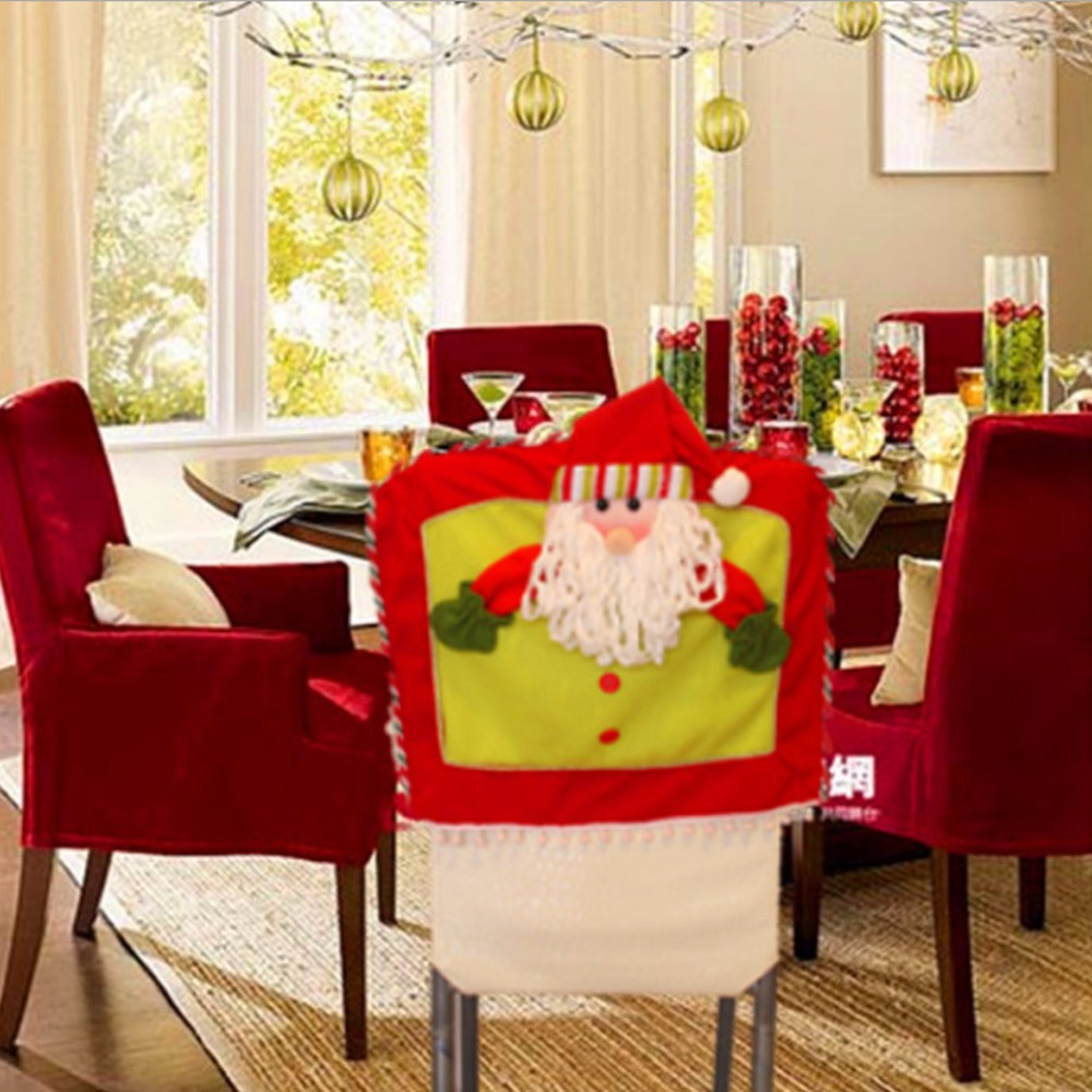 10 Pcs / Lot Red Hat Santa Claus Snowman Reindeer 3 D Chair Covers Christmas  Dinner Table Party XMAS Decoration Merry Christmas