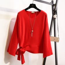 New Korean trumpet sleeve loose bow tie V neck knit Pullover female red