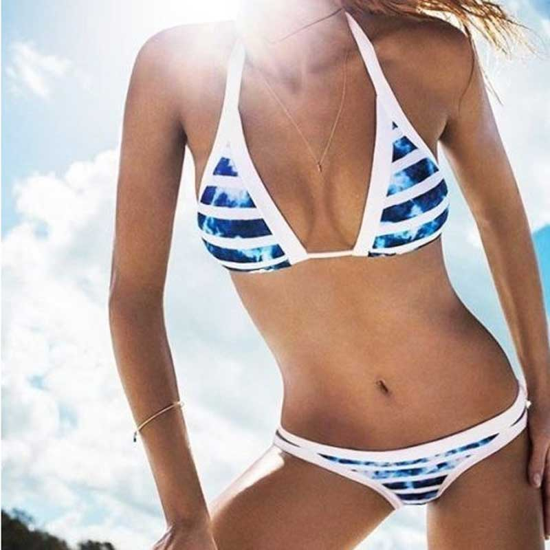 2017 AliExpress summer style Agent Provocateur explosion models blue and white print bikini female split swimwear