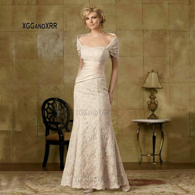 N615 2018 Sweetheart Mermaid Mother Of The Bride Dresses Ivory Appliques Short Sleeves Sexy Long Evening Gowns