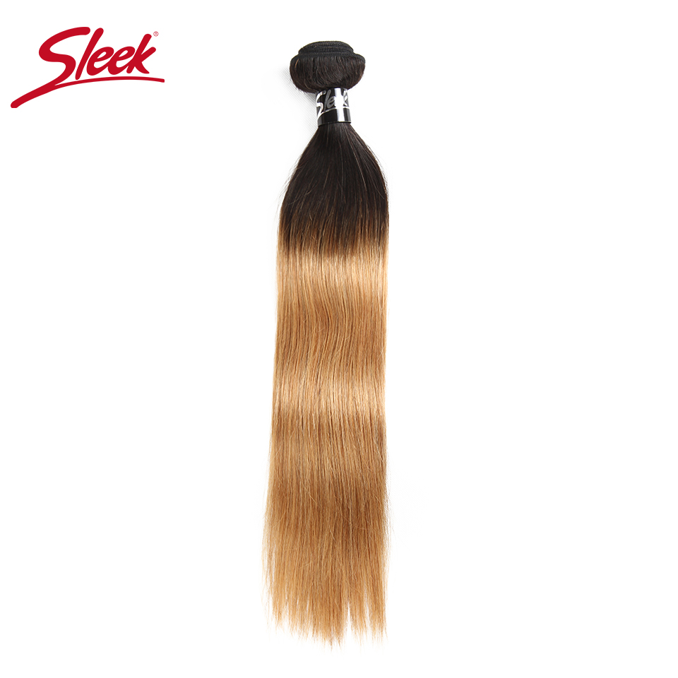 Sleek Human Hair Bundles Remy Ombre Brazilian Straight 1B/27 Pre-Colored Human Hair Weave Extension 10-30 Inches Free Shipping