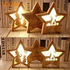 Christmas Wooden Pentagram Christmas Glowing Star Hotel Xmas Tree LED Lights Wooden Creative Christmas Wooden Star Luminous