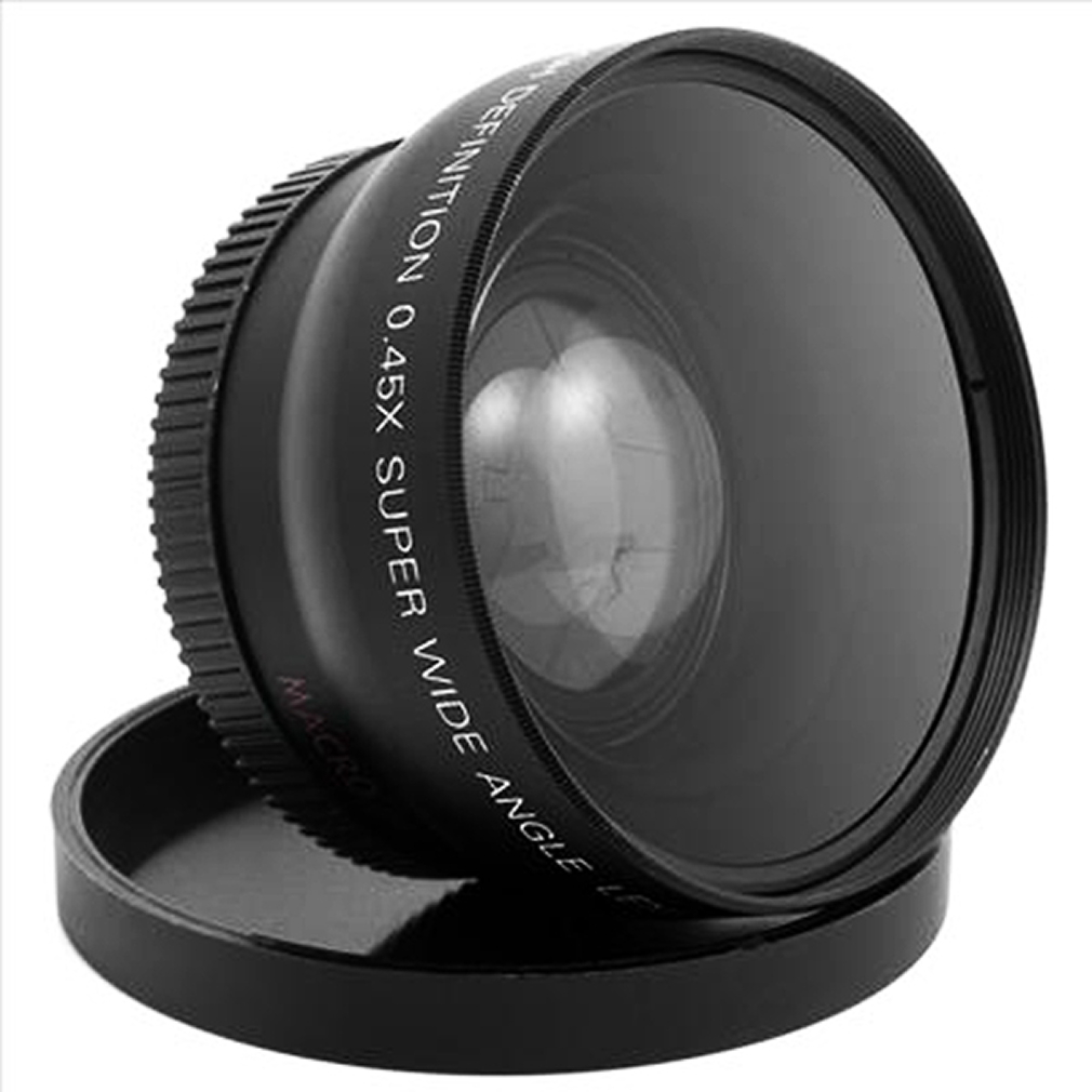 1 Unidades profesional 52mm 0.45x lente macro gran angular para Nikon D3200 D3100 D5200 D5100 negro gran angular