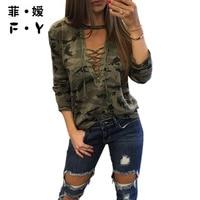 2017 T Shirt Women Fashion New Style Lace Up Tshirt Full Regular V Neck ArmyGreen TShirt