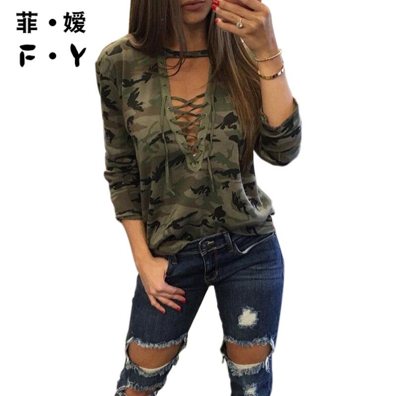 Camouflage Print Women Long Sleeve Slim T Shirt Fashion V Neck Lace up Lady Sexy Tops