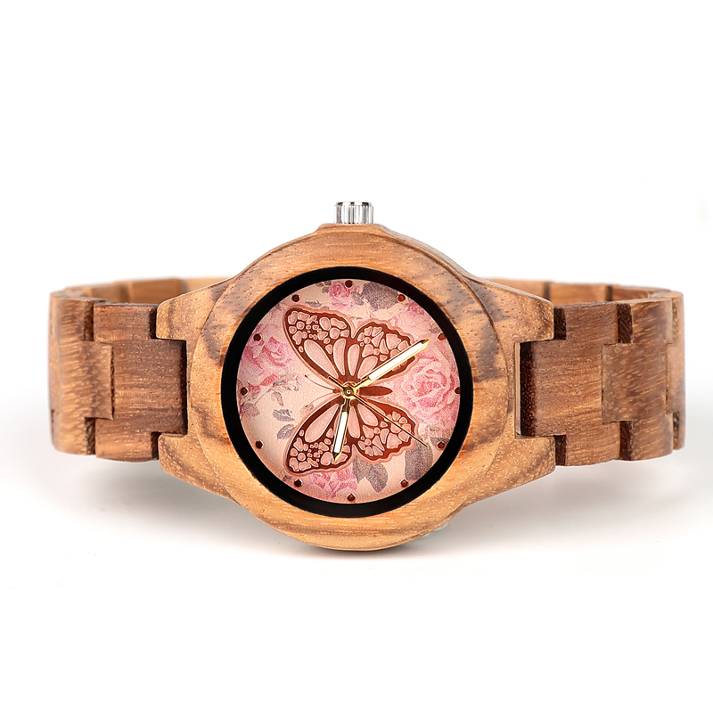 Image 3 - ELMERA wood watch women ladies watches women in Wristwatch Quartz Movement Wood Watch relogio femininoWomens Watches   -
