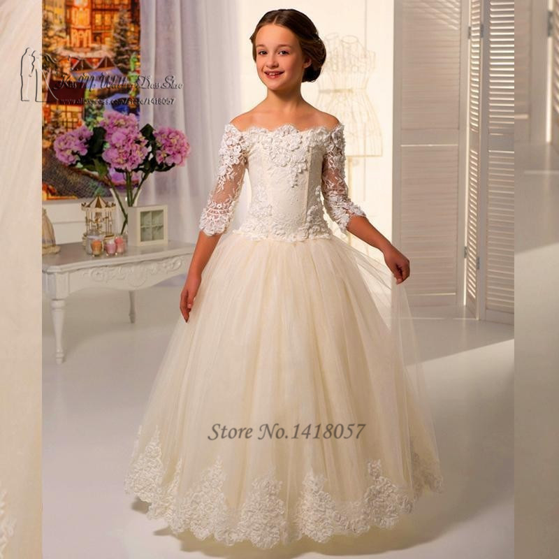Cute White Ivory Kids Evening Gowns Lace off Shoulder Prom Dress ...