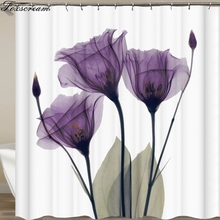Bathroom Curtain Flower Polyester-Fabric Purple Waterproof Mat Floral Rose
