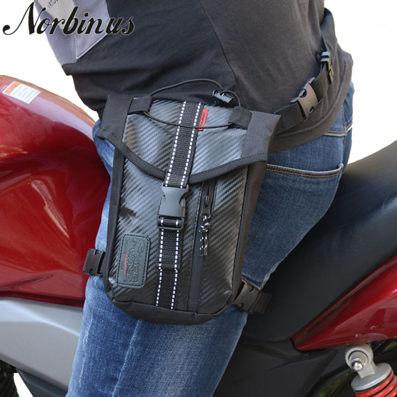 Norbinus Men Waist Bag Durable Oxford Fanny Pack Drop Leg Bag Motorcycle Riding Thigh Belt Bag Travel Hip Bag Phone Pouch Purse