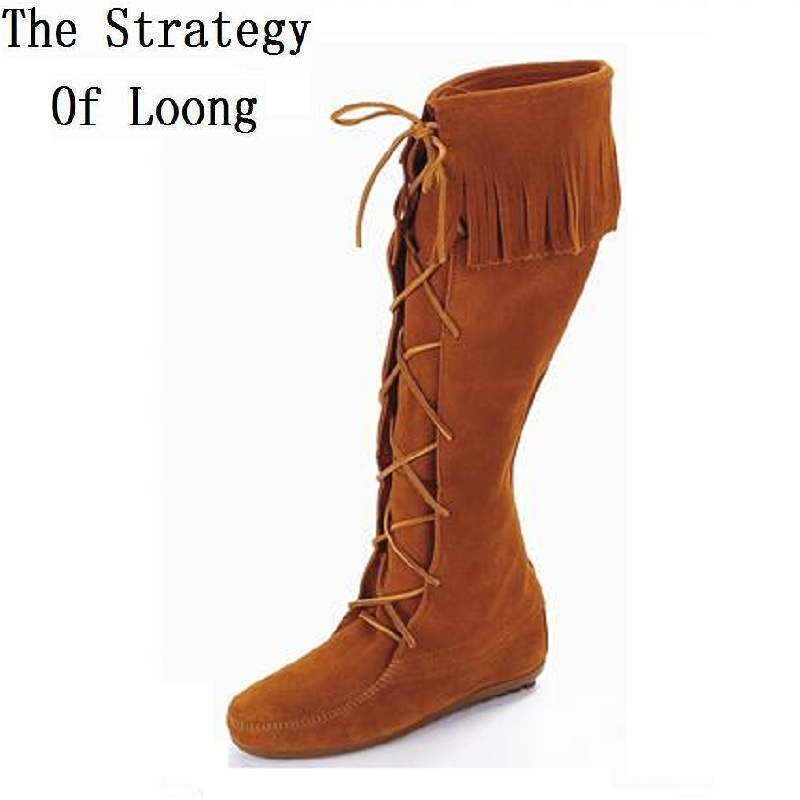 Europe America Flats Lace Up Tassel Nubuck Leather Spring Autumn Winter Women Knee High Boots Lady Fringe Flock 35-40 SXQ0605 fashion autumn and winter style flock leather women fringe flat heels long boots woman keep warm tassel knee high boots