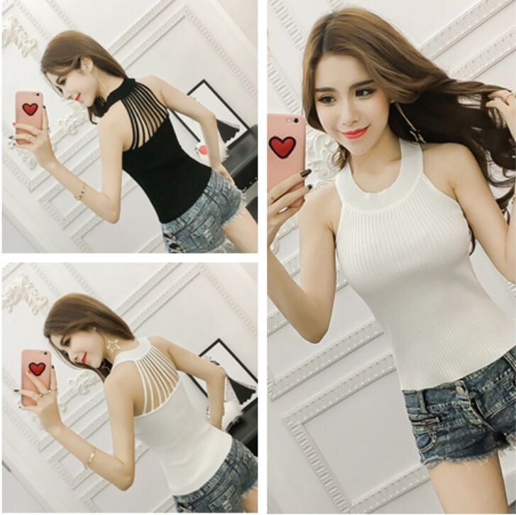 Summer Women Fashion Slim Knitting   Tank     Tops   Female Bodycon Hollow-out Stretchy Camisole Sleeveless T shirts FL111
