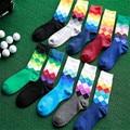 5 Unids/lote clásico Caliente de Moda Casual de Negocios Joven algodón ocasional estándar colorido rombo Hombres calcetín MS0073