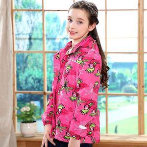 Image 3 - Waterproof Fitted Waist Baby Girls Jackets Warm Floral Animals Printed Child Coat Polar Fleece Children Outerwear 3 12 Years Old