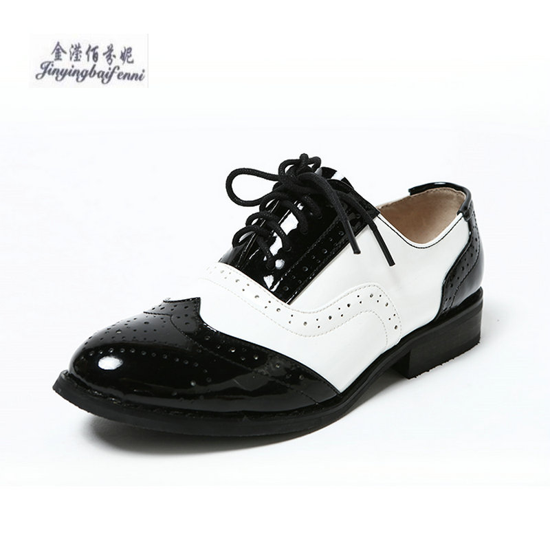 New Spring Patent Leather Black White Single Shoes Women Fashion Women Shoes Plus Size 33 45