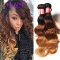 Cheap Ombre Brazilian Hair Body Wave 7A T1B/4/27 3 Tone Color Ombre Human Hair 4 Bundles 16-26 Inch Xuchang Longqi Beauty Hair