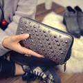 W.D.POLO New design rock color stud hand wallets super PU leather wallet small hand bags with coin pockets zipper open bag M2680