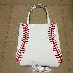 Softball radfahren Dame Tasche Schulter baseball tasche Handtasche der Frauen Niedliche Canva Einkaufstasche basketball tasche
