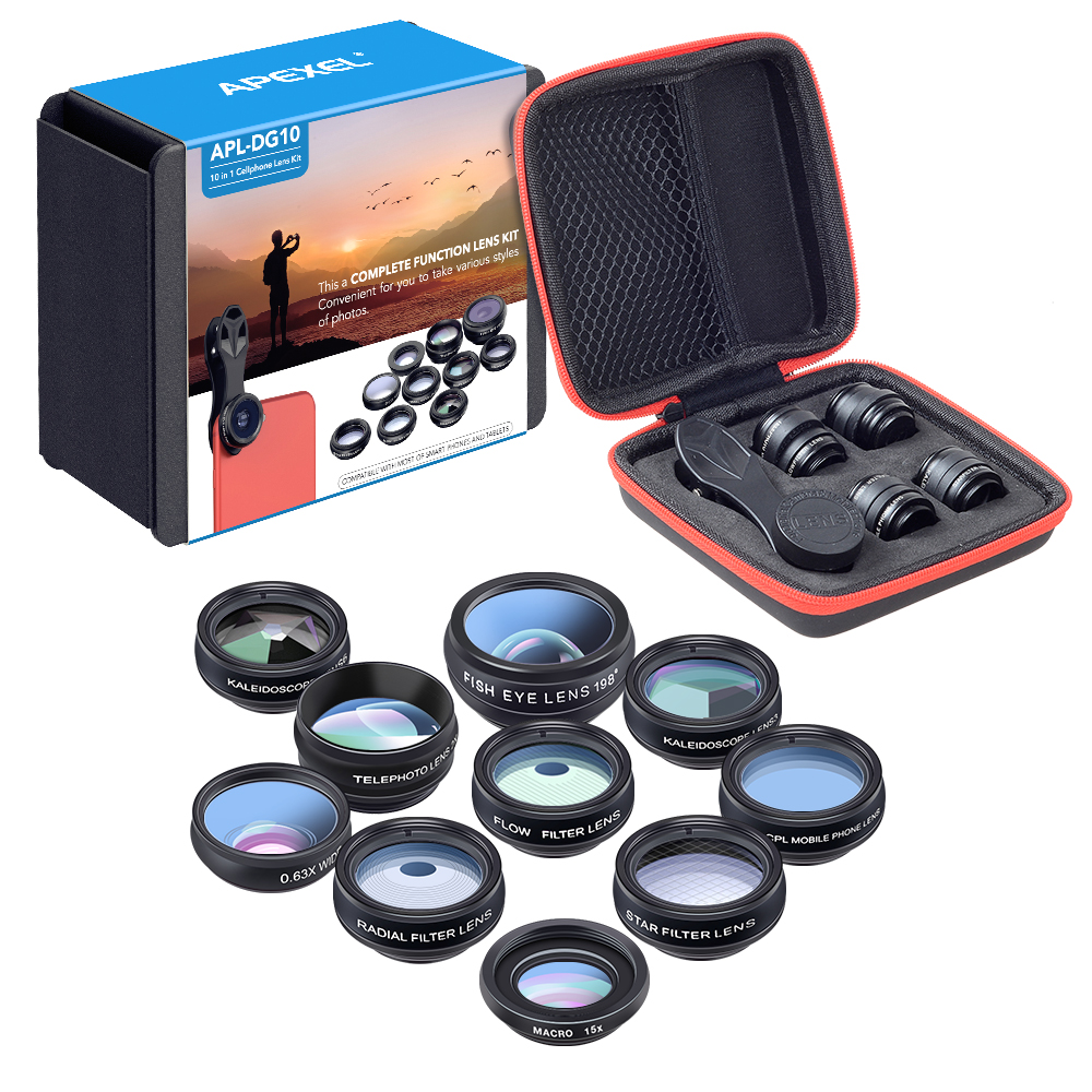 APEXEL 10 Boxes/lot 10 in 1 Lens Mobile Phone Wide Angle Fish Eye Macro Lenses Universal Wholesale Retail Box Lente de celular