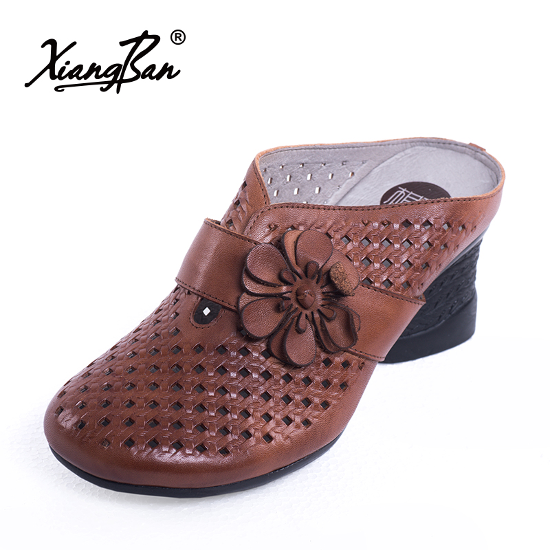 2018 spring and summer leather women sandals thick heel slippers baotou elegant ladies shoes closed toe handmade vintage style 2014 spring and summer new elegant gold buckle leather shoes women shoes carrefour