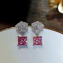 Симпатичные розовые серьги гвоздики с цирконом для женщин новинка