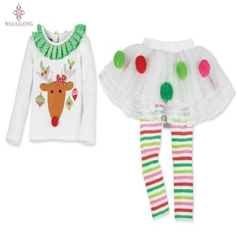 Free Shipping 2015 New Retail Cute Deer Babys Christmas Clothes Long-Sleeve Girls Clothing Sets Kids Good Quality Suits outfit