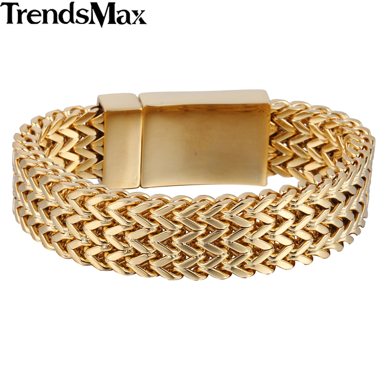 Trendsmax 17mm*21.5cm Gold-color 316L Stainless Steel Triple Foxtail Box Link Bracelet Mens Boys Jewelry HB407 HB408