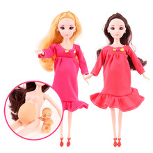 New Educational Real Pregnant Doll Suits Mom Doll Have A Baby in Her Tummy Best Friend Play with Girls Toys Best Gift(China)