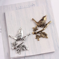 Free Shipping 40PCs 34*38MM Vintage Silver Bronze Alloy Pendant Charms Animal Bird with Leaf Necklace Alloy Charm Craft