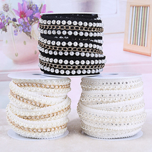 Hot Sale Pearl Chain Lace Ribbon Tape width 25MM lace fabric