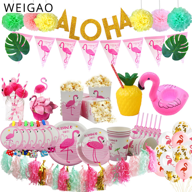 6 Piece Topical Party Set with Flamingo and Palm Tree Flashing LED Necklaces Can Cooler Beverage Holders and 4 Flashing Ice Cubes Life of the Party Kit for Two Hawaiian Luau Summer Pool Party