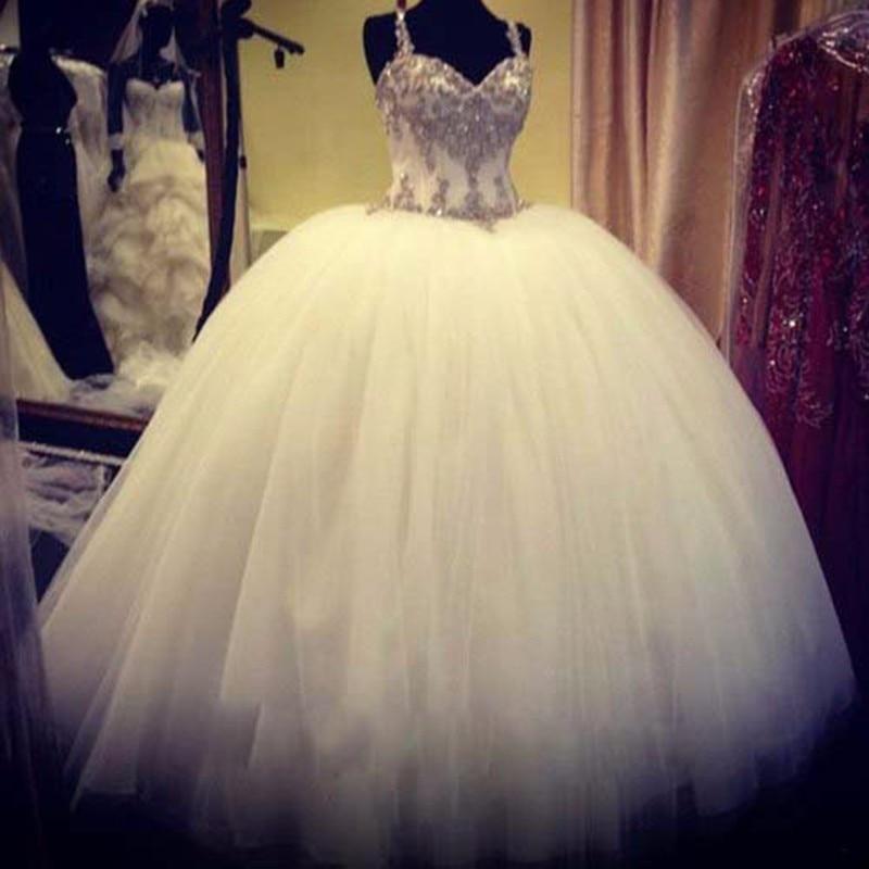 Luxury Wedding Dress 2019 Vestido De Noiva Csamento Spaghetti Straps Beading Crystals Lace Up Ball Gown Tutu Wedding Dresses