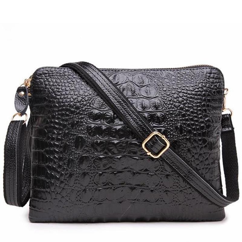 Women Genuine Cow Leather Shoulder Bag Messenger Handbag Crocodile Small Black