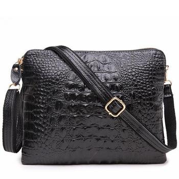 Women's Genuine Leather Alligator Crossbody Cowhide Crocodile Messenger Bags Female Small Shoulder Bag Clutch Wristband Handbag