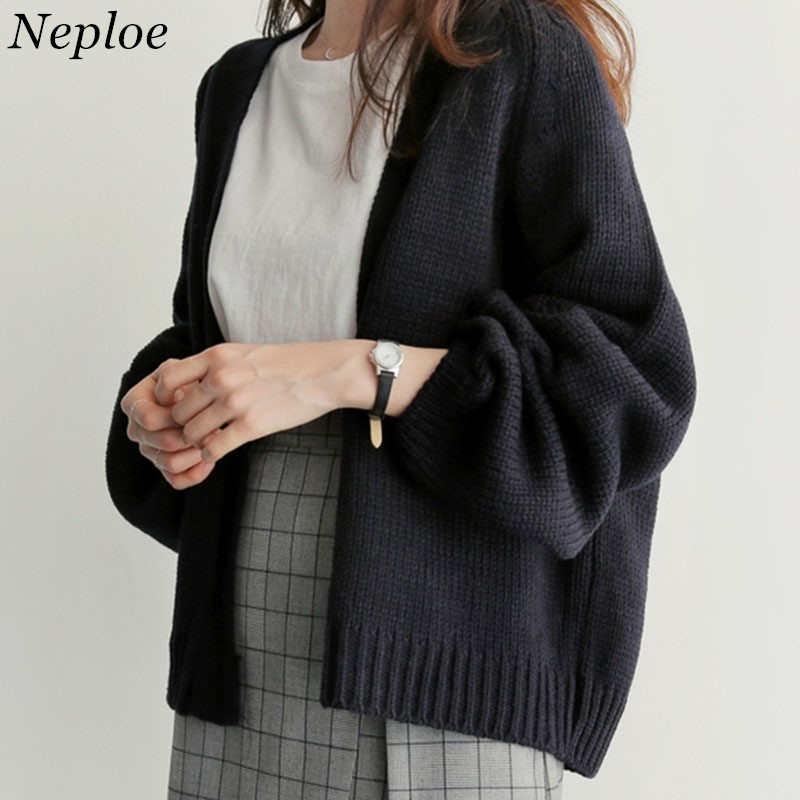 Neploe Sweater Cardigan Women's 2019 New Korean Loose Sweater Women Coat Solid Knitting Outwear Female Casual Open Stitch 36530