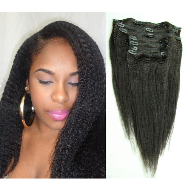 7pcs Clip In Black Coarse Kinky Yaki Straight Brazilian Virgin Hair
