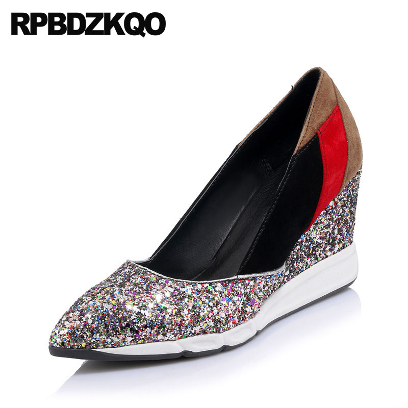 Casual Sparkling Colourful Pointed Toe Size 33 Pumps Fashion Sequin Glitter  High Heels Shoes Bling Women Suede 3 Inch 4 34 2018 f464221fff49