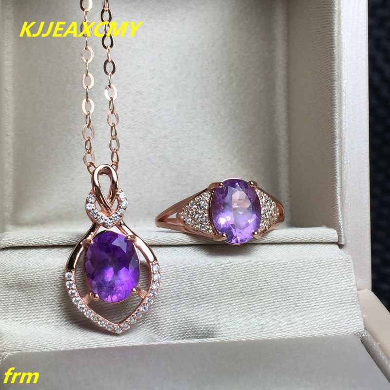KJJEAXCMY Fine jewelry, 925 sterling silver inlaid natural amethyst women's rings necklace set wholesale kjjeaxcmy fine jewelry 925 sterling silver inlaid natural amethyst ring wholesale opening ladies adjustable support testing