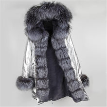 winter silver coat jacket women outwear thick parkas natural real silver fox fur collar Grey natural fur coat hooded pelliccia(China)