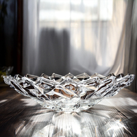 Home decoration plate crystal glass fruit plate transparent crafts triangle lace deep bottom European storage plate ornaments