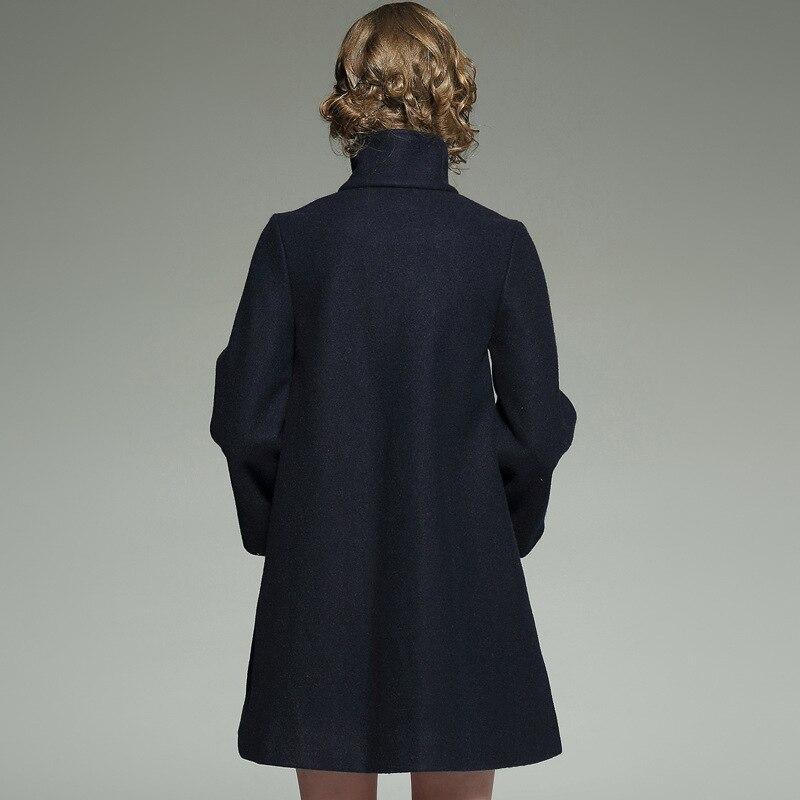 Col Tunique Boutons Double Manteau Bleu Haut Long Laine Marine Pardessus De Grande Boutonnage D'hiver En 2018 Dames O1frOxwSPq