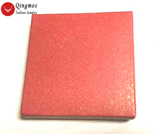 Qingmos Wholesale 12 Boxes 9*9*2cm Red Square Jewelry For Bracelet Gfit Box with Paper China Silk Displays b08