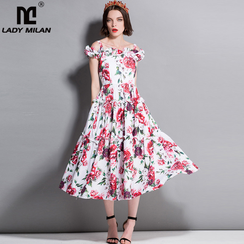 New Arrvial Womens Spaghetti Straps Off the Shoulder Floral Printed Ruffles Fashion Casual Mid Calf Runway Dresses