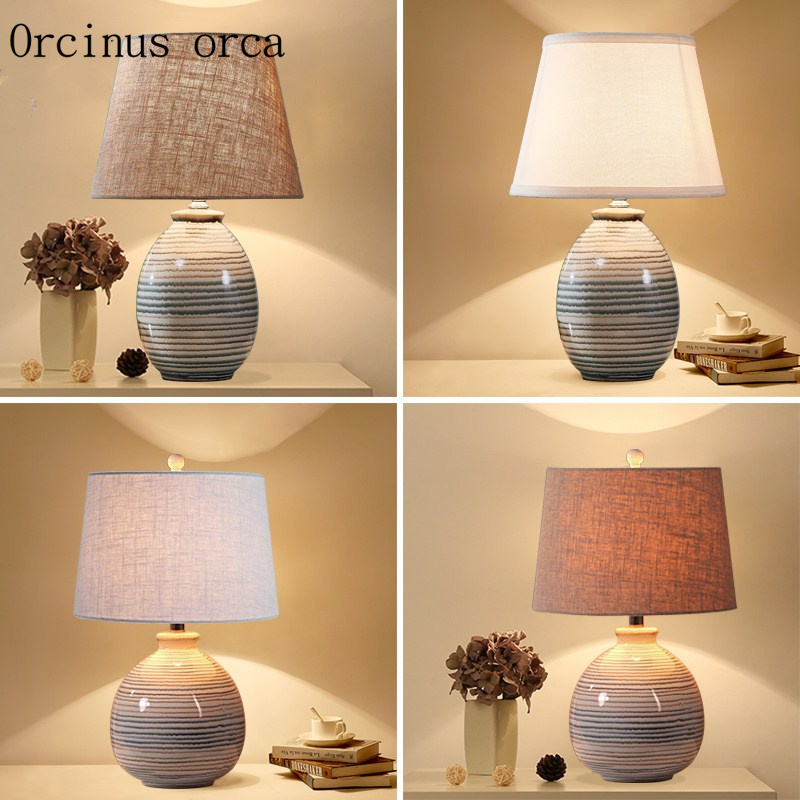 New Chinese classic cloth art desk lamp bedroom bedside lamp modern simple and creative manual ceramic table lamp free shipping|LED Table Lamps| |  - title=