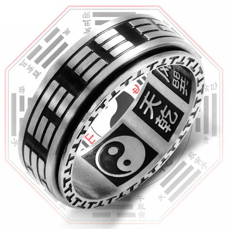 Мужское Винтажное кольцо-Спиннер Tai Chi Mantra, черное вращающееся кольцо из нержавеющей стали с рисунком
