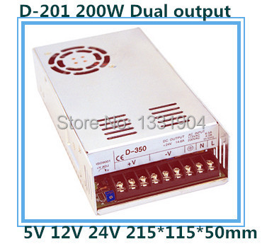цена на new original AC to DC LED dual output switching power supply D-201, 200W AC input, output voltage DC 5V 12V 24V transformer