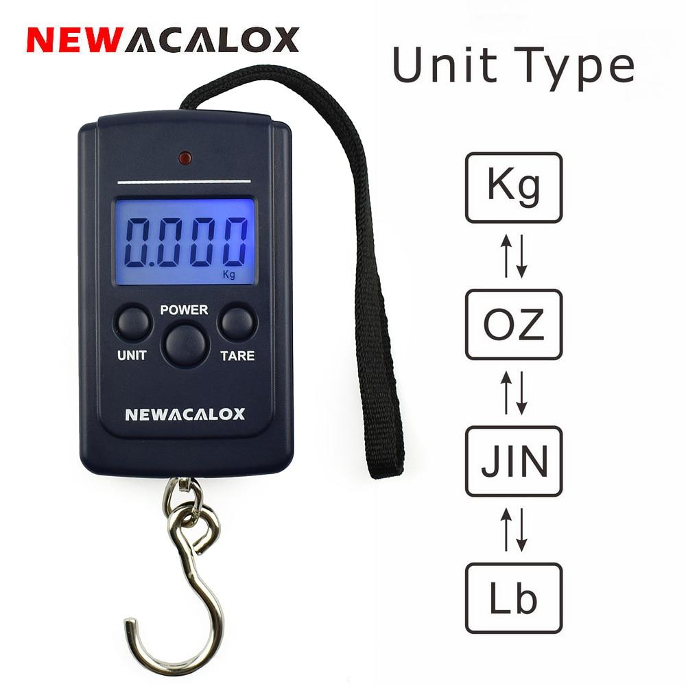 NEWACALOX 40 kg / 88 lb Mini balanza de pesca digital portátil Pantalla LCD Ponderación Gancho electrónico Escala de equipaje de viaje